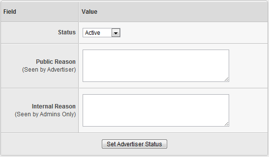 Changing an Advertiser's Status in Offerit